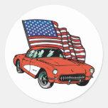 Coche del músculo del vintage de la bandera etiqueta redonda