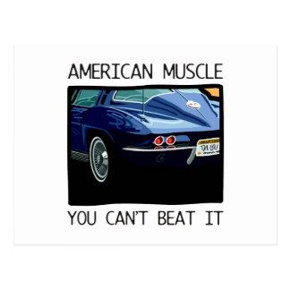 Coche del músculo, obra clásica y azul americanos postales