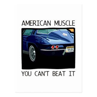 Coche del músculo, obra clásica y azul americanos postal