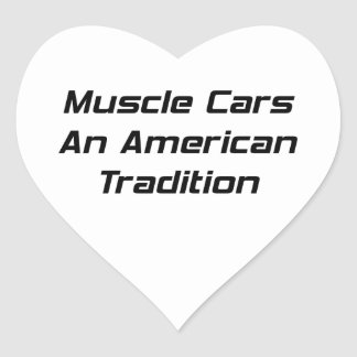 Coche del músculo una tradición americana pegatina en forma de corazón
