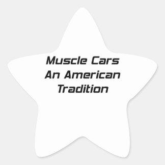 Coche del músculo una tradición americana pegatina en forma de estrella