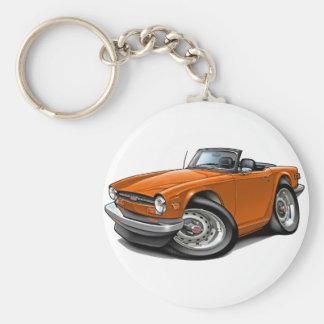 Coche del naranja de Triumph TR6 Llavero Redondo Tipo Pin