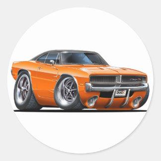 Coche del naranja del cargador de Dodge Pegatinas Redondas