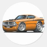 Coche del naranja del demonio de Dodge Etiqueta Redonda