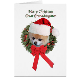 Coche del navidad del perro de Pomeranian de la bi Tarjeton