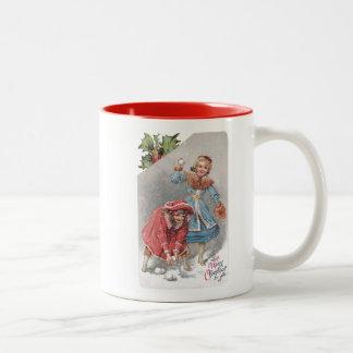 Coche del navidad del vintage de las bolas de niev taza de café