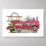 Coche del pedal del coche de bomberos poster