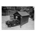 Coche del pedal del coche de carreras, 1900s tempr tarjetón