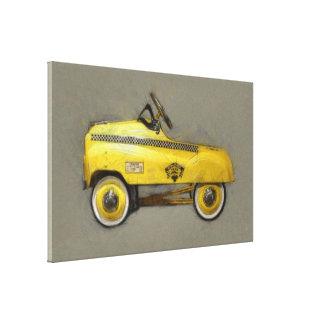 Coche del pedal del taxi impresión en lienzo estirada