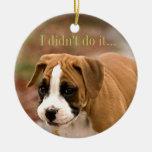 Coche del perro del boxeador u ornamento sonriente ornamentos para reyes magos