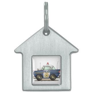 Coche del poli de Crusier de la policía del coche  Placas De Nombre De Mascota