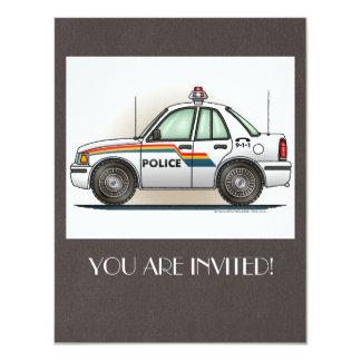 """Coche del poli del coche del crucero de la policía invitación 4.25"""" x 5.5"""""""