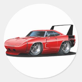 Coche del rojo de Dodge Daytona Pegatinas Redondas