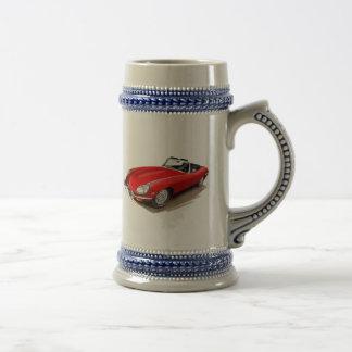 Coche del rojo de Jaguar XKE Jarra De Cerveza