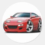 Coche del rojo de Nissan 300ZX Pegatina Redonda