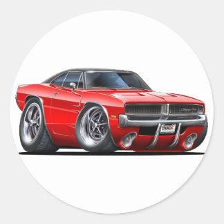 Coche del rojo del cargador de Dodge Etiqueta Redonda