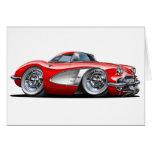 Coche del rojo del Corvette Tarjetón