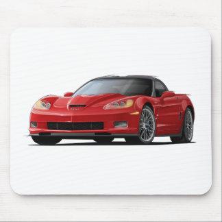 Coche del rojo del Corvette ZR1 Alfombrillas De Ratón