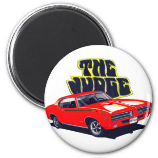 Coche del rojo del juez de 1969 GTO Imán Redondo 5 Cm