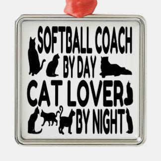 Coche del softball del amante del gato adorno navideño cuadrado de metal