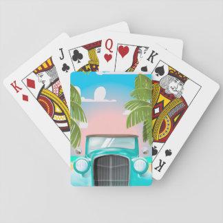 coche del verde de la espuma del mar del vintage baraja de cartas