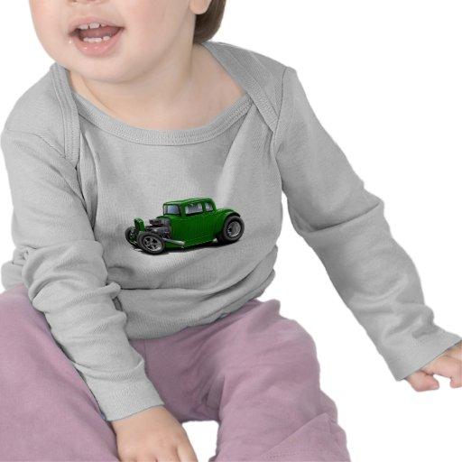 coche del verde del coche de carreras de los años camiseta