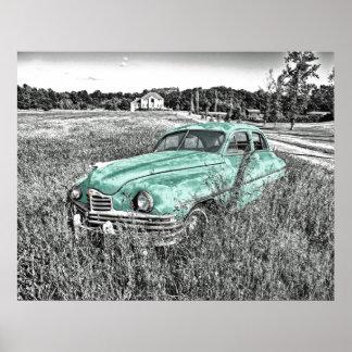 coche del vintage abandonado en cartel de la verde impresiones