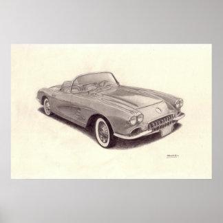 Coche del vintage: Chevrolet Corvette Posters