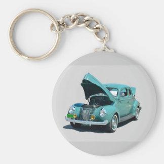 coche del vintage de los años 40 llavero redondo tipo pin