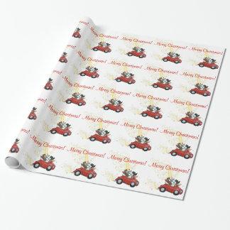 Coche del vintage de los caniches del navidad papel de regalo