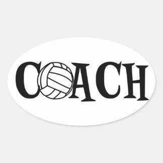 Coche del voleibol pegatina ovalada