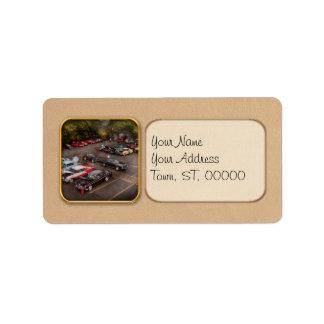 Coche - demostración de coche antiguo etiqueta de dirección