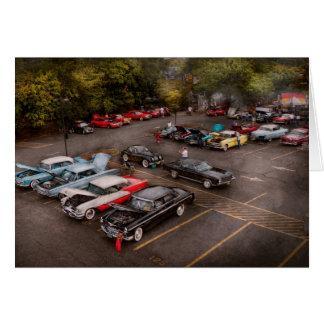 Coche - demostración de coche antiguo tarjeta de felicitación