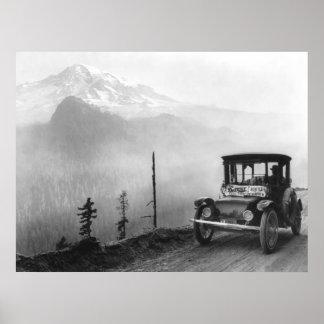 Coche eléctrico antiguo, 1919 póster