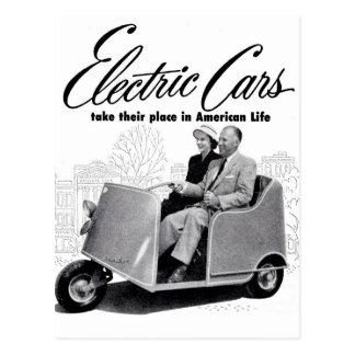 Coche eléctrico retro 3-Wheel del kitsch 50s del Tarjetas Postales