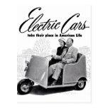 Coche eléctrico retro 3-Wheel del kitsch 50s del v Tarjetas Postales