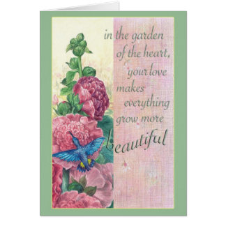 """Coche floral del saludo del colibrí de la madre """" tarjeta de felicitación"""