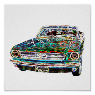 coche fresco de los colores poster