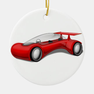 Coche futurista aerodinámico rojo brillante con el adorno navideño redondo de cerámica