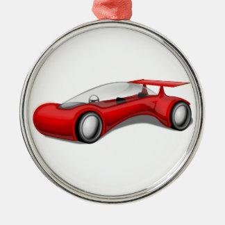 Coche futurista aerodinámico rojo brillante con el adorno navideño redondo de metal