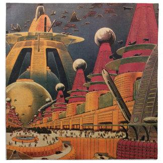 Coche futurista del vuelo de la ciudad de la cienc servilletas imprimidas