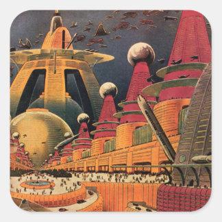 Coche futurista del vuelo de la ciudad de la pegatina cuadrada