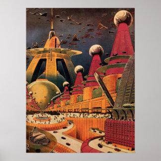 Coche futurista del vuelo de la ciudad de la póster