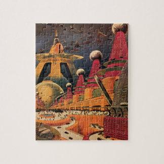 Coche futurista del vuelo de la ciudad de la puzzle