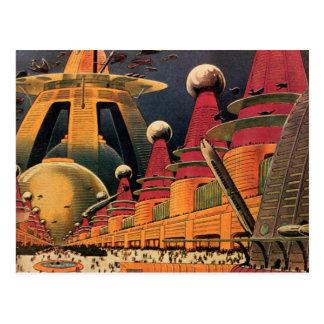 Coche futurista del vuelo de la ciudad de la tarjeta postal