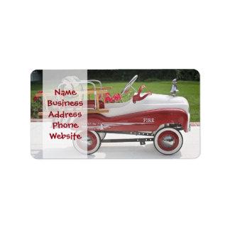 Coche genérico del Firetruck del coche del pedal Etiquetas De Dirección