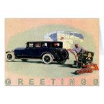 Coche Greetingcard del vintage con Lincoln viejo Tarjeta De Felicitación