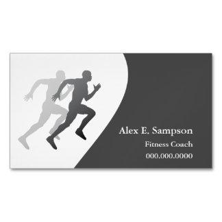 Coche gris de la aptitud del corredor tarjetas de visita magnéticas (paquete de 25)