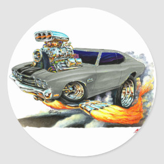 Coche Gris-Negro 1970 de Chevelle Etiqueta Redonda