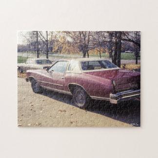 coche marrón de la obra clásica del vintage de los rompecabeza con fotos